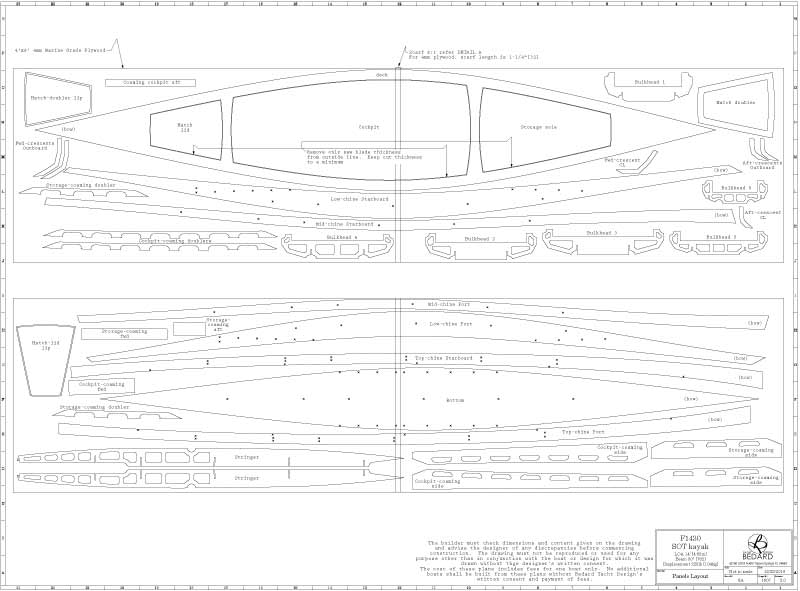 F1430 Fishing Kayak Full-Size Templates, Plans and Manual