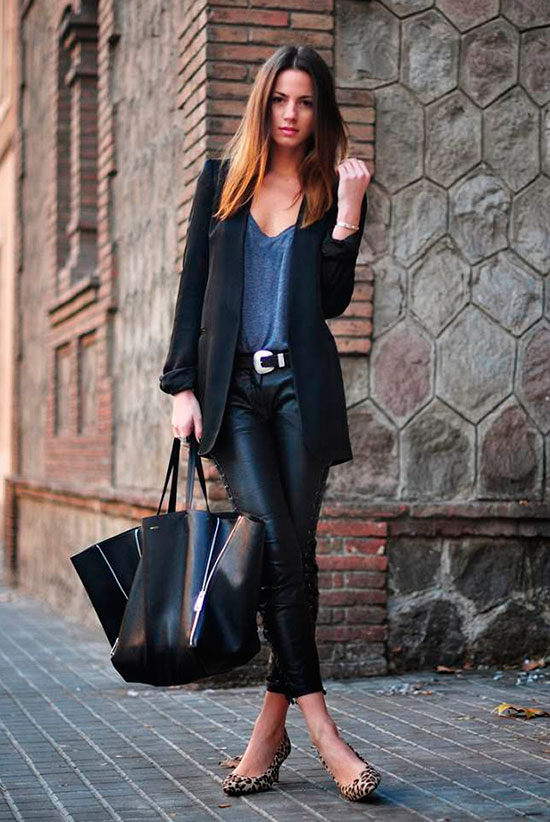 30 Chic Work Outfits to Wear this Summer: Fashion blogger 'Fashion Vibe' wearing a black long blazer, a grey t-shirt, black leather leggings, leopard flats, a black western belt and a black tote bag. Work outfits, summer work outfits, office wear, business casual, fashion, street style, womens fashion.