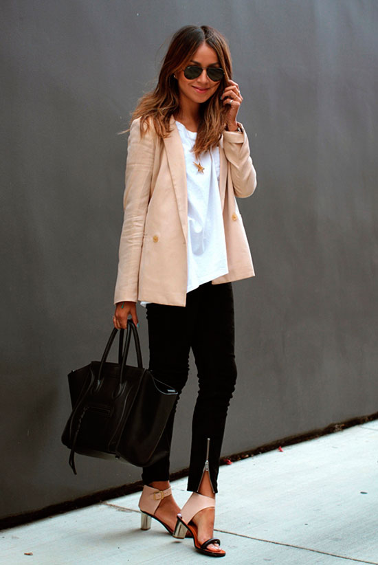 30 Chic Work Outfits to Wear this Summer: Fashion blogger 'Sincerely Jules' wearing a beige blazer, a white t-shirt, black skinny jeans, blush bock heel sandals and a black handbag. Work outfits, summer work outfits, office wear, business casual, fashion, street style, womens fashion.
