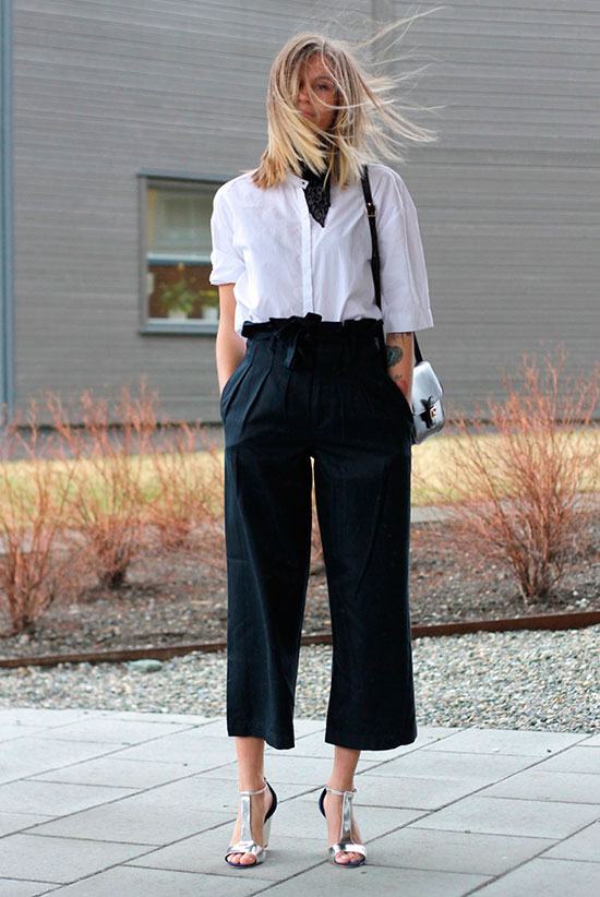 30 Chic Work Outfits to Wear this Summer: Fashion blogger 'The Fashion Eaters' wearing a white elbow sleeve shirt, black belted wide leg crop pants, snake print wedges, a black bandana and a black shoulder bag. Work outfits, summer work outfits, office wear, business casual, fashion, street style, womens fashion.