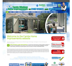 Cambs Windows & Home Improvement website, built using Worpress & Adobe Software