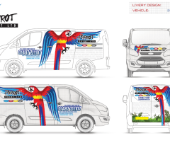 Parrot Print vehicle design for a Printing Company