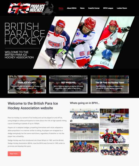 Home page from the British Sledge Hockey Association website design
