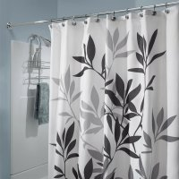 InterDesign Black and Gray Leaves Fabric Shower Curtain ...