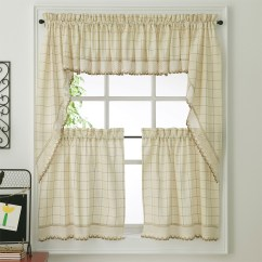Kitchen Cafe Curtains 24 Stools For The Green Adirondack Woven Tier Bedbathhome Com Ecru Toast