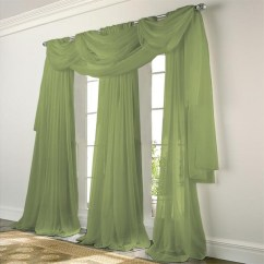 Green Curtains For Living Room Colorful Furniture Elegance Voile Sage Sheer Curtain Bedbathhome Com
