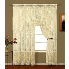Grommet Kitchen Curtains Island With Bar Seating Abbey Rose Ivory Floral Lace Curtain: Bedbathhome.com