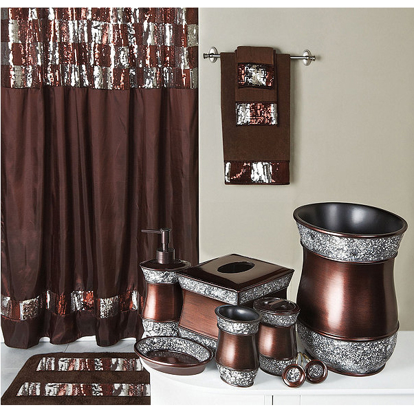 Elite Sequined Bronze Shower Curtain and Bath Accessories