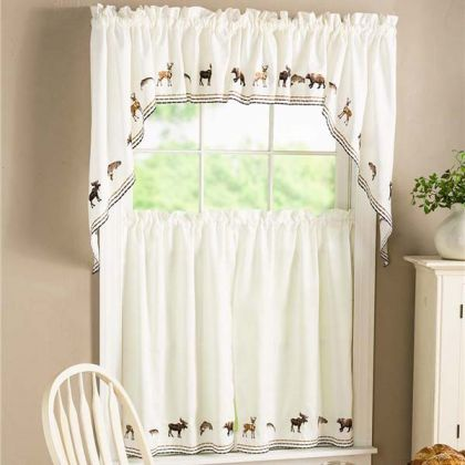 kitchen curtians retro wallpaper curtains tier altmeyer s bedbathhome lodge embroidered wildlife curtain