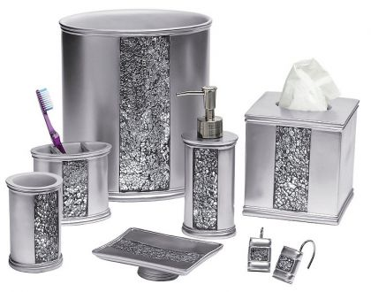 bling bathroom accessories sets Sinatra Silver Bling Shower Curtain and Bath Accessories: BedBathHome.Com