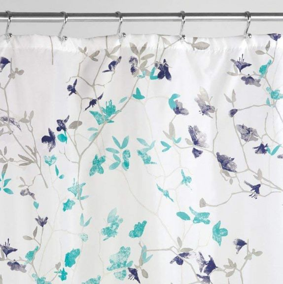 interdesign twiggy floral fabric shower curtain in teal and navy