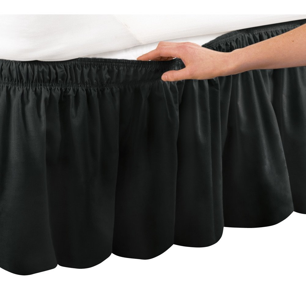 Black Ruffle Wrap Around Bed Skirt with 14 inch Drop