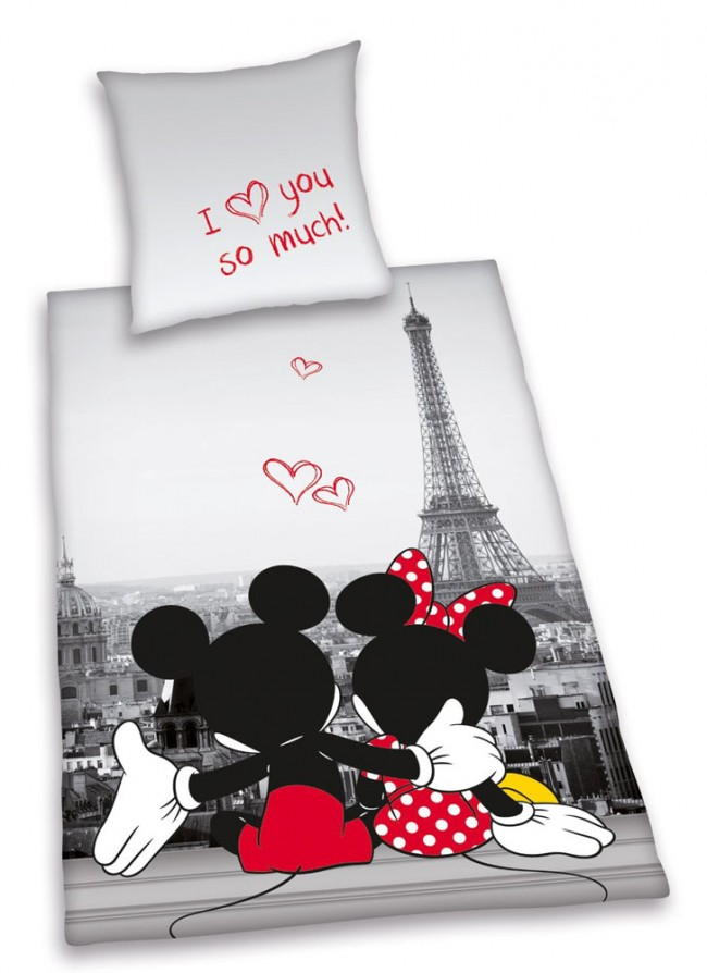 Mickey  Minnie Mouse in Paris Dekbed