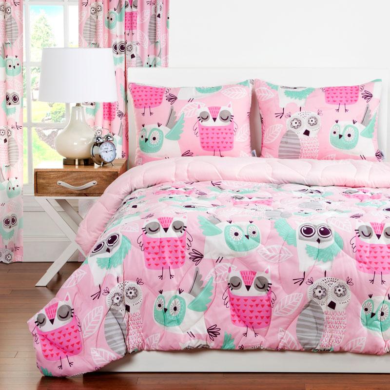 night owl zipper comforter with sham bunk bed bedding set