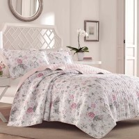 Laura Ashley Breezy Floral Pink Grey Quilt Set from ...