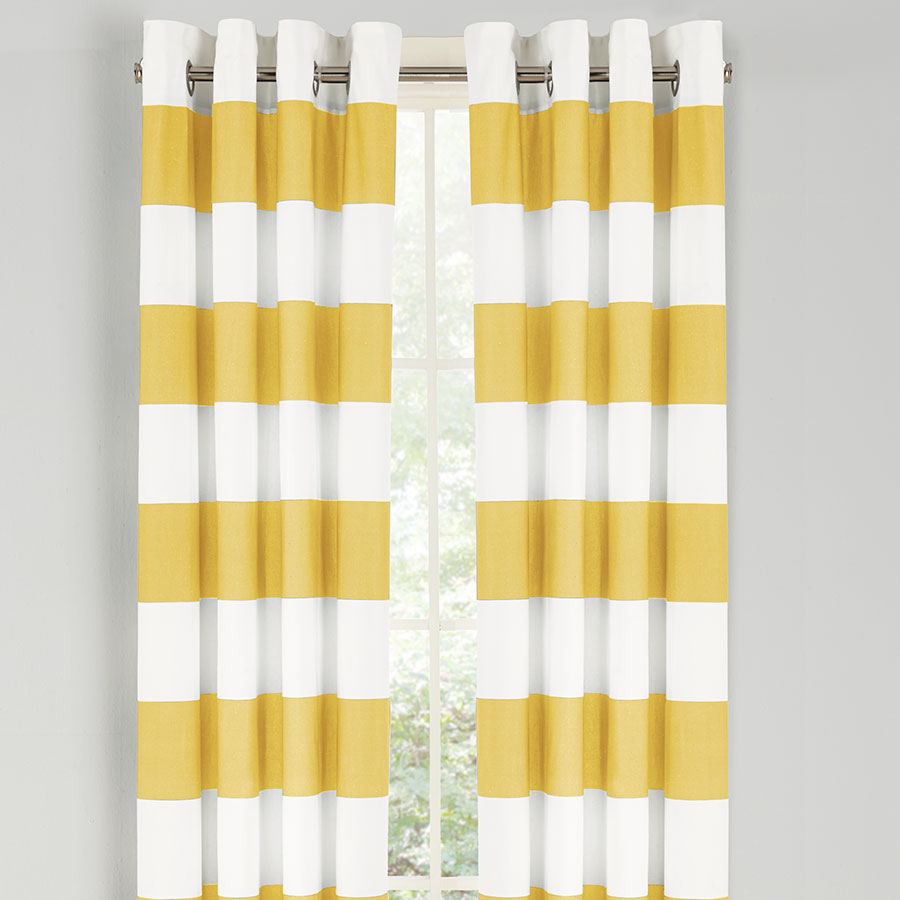 Nautica Cabana Stripe Yellow Drapes From Beddingstyle Com  Yellow And White Curtains