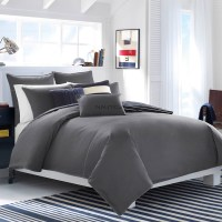 Nautica Seaward Twill Solid Charcoal Comforter Set from