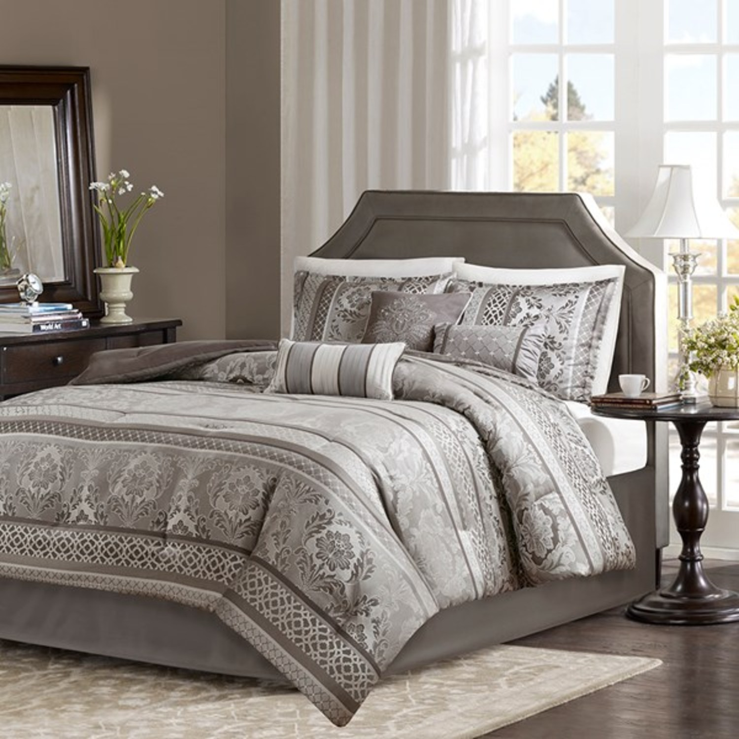 Bellagio Grey by Madison Park  BeddingSuperStorecom