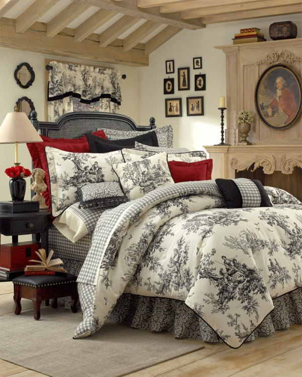 Black and White Toile Bedding