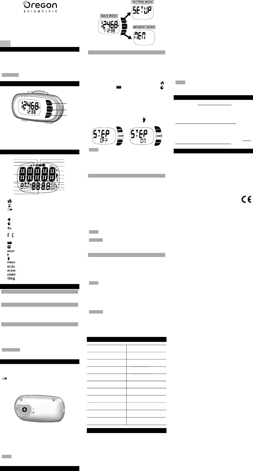 Bedienungsanleitung Oregon Scientific PE980 (8 Seiten)