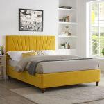 Lpd Lexie Mustard Velvet Fabric Bed Fra E