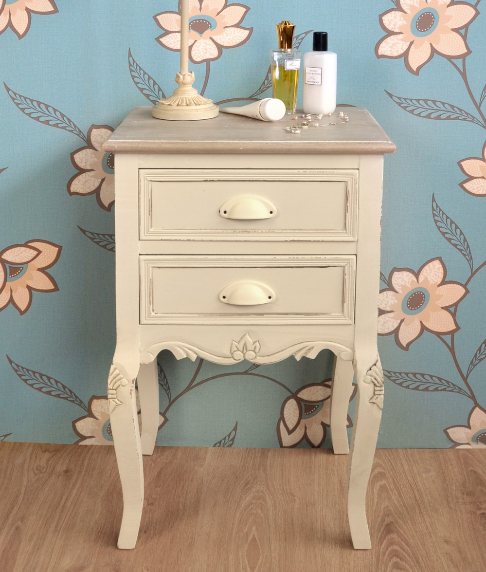 Furniture New 2 Drawer Bedside Cream Shabby Chic Bedside Cabinet Table Chest Assembled Blueprintdrafting Com Au