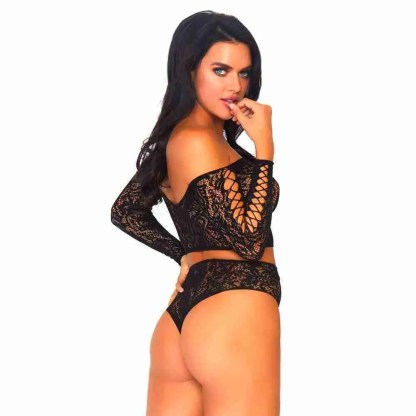 Leg Avenue 2 Piece Lace Top And Thong One Size 8 to 14 back