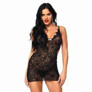 Leg Avenue Boudoir Rose Lace Mini Dress UK 8 To 14 - 1