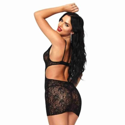 Leg Avenue Boudoir Rose Lace Mini Dress UK 8 To 14 - 2