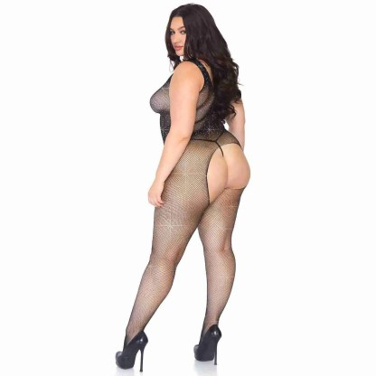 Leg Avenue Crystalized Net Bodystocking Plus Size UK 18 to 22-2