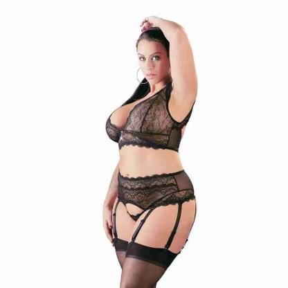 Cottelli Plus Size Bralette and String Set Black 2
