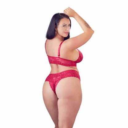 Cottelli Plus Size Red Lace Bra And Briefs 3