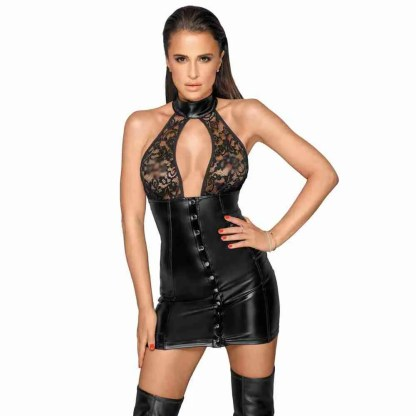 Noir Lace and Wet Look Halter Neck Dress 1