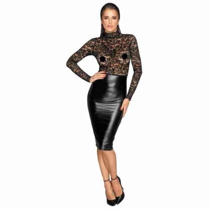Noir Black Lace and Wet Look Pencil Dress 1