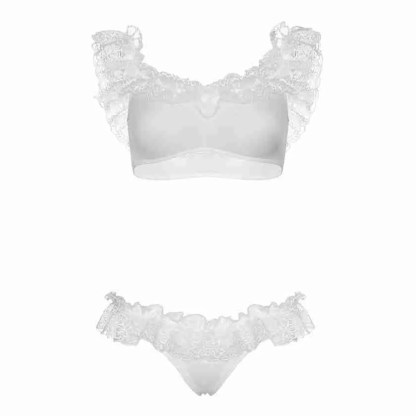 Leg Avenue Lace Ruffle Crop Top and Panty UK 8 to 14-3
