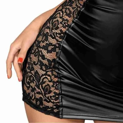 Noir Black Lace and Wet Look Tight Mini Dress 3