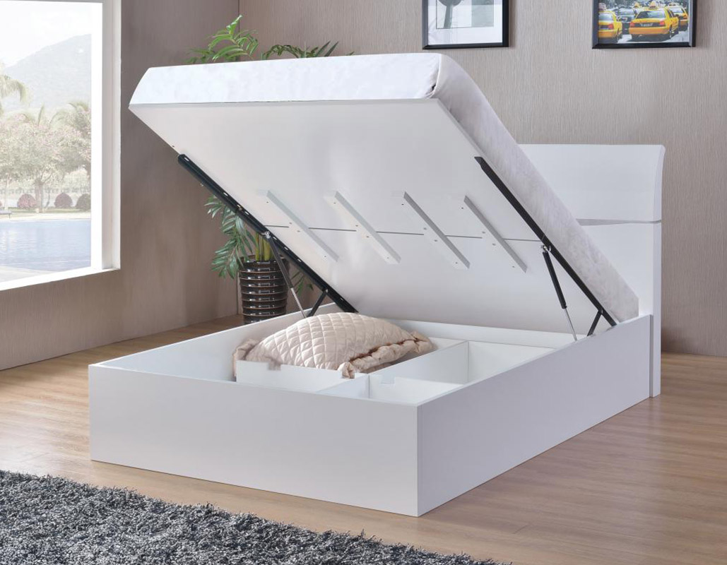 Arden White High Gloss Storage Bed Beds Net