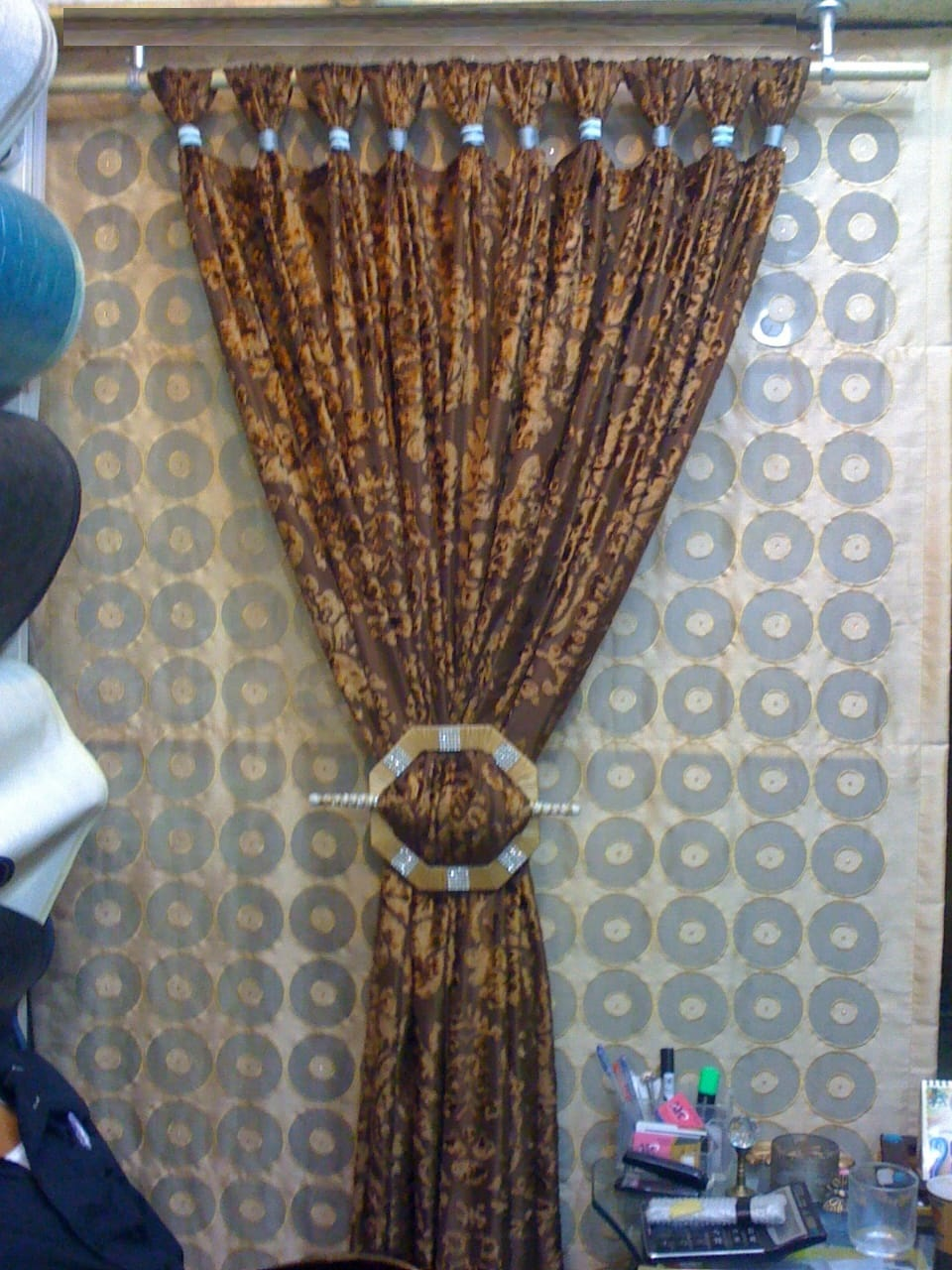 golden brown shiny curtains sets for