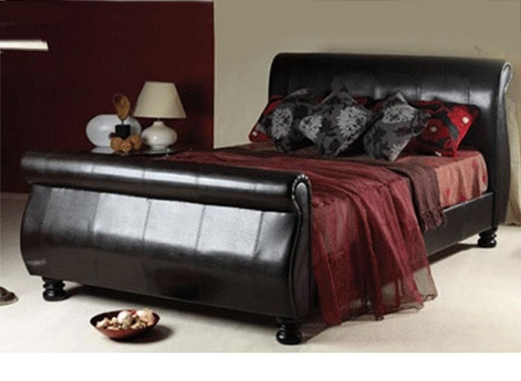 Sweet Dreams Mandarin 5ft Kingsize Brown Faux Leather Bed