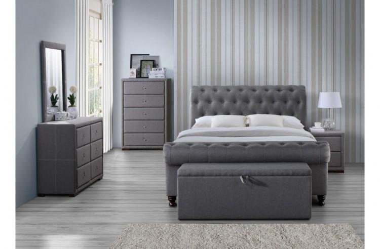 Birlea Castello 5ft Kingsize Grey Fabric Bed Frame by Birlea