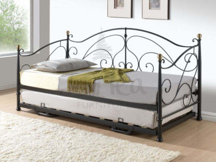Birlea Milano 3ft Single Black Metal Day Bed Frame with