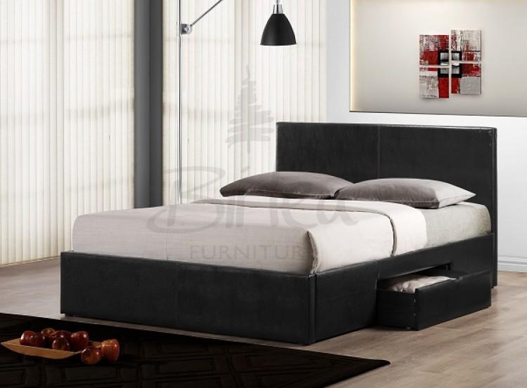 Birlea Berlin 5ft Kingsize Black Faux Leather Bed Frame