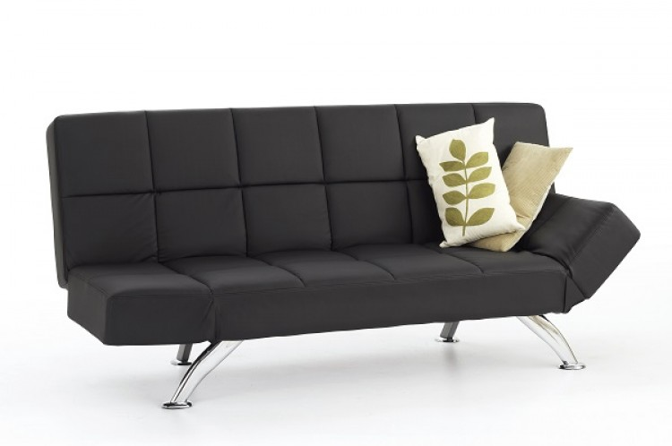 faux leather sofa bed uk plaid serene venice black by furnishings