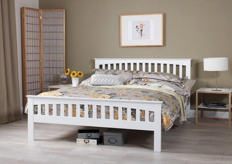 Serene Amelia 5ft Kingsize White Wooden Bed Frame by Serene Furnishings