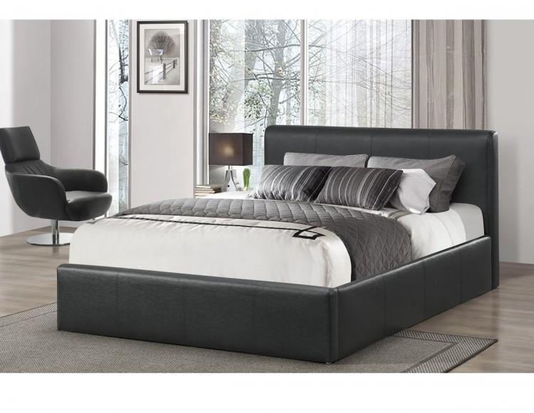 Birlea Ottoman 4ft Small Double Black Faux Leather Bed