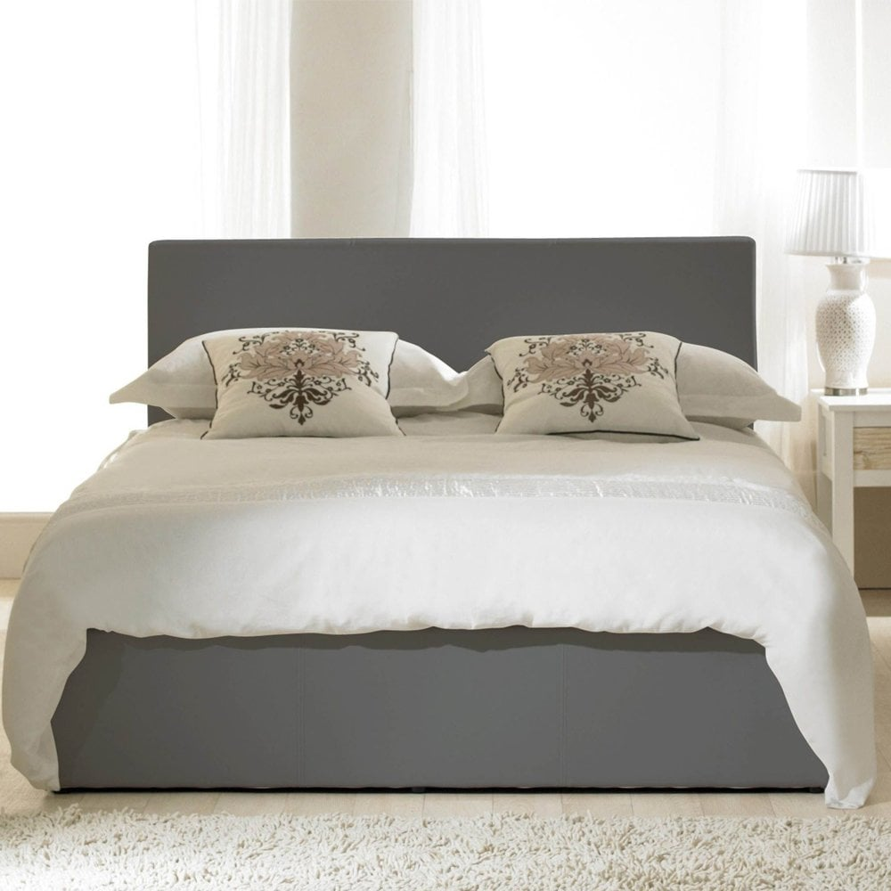emporia mdgy40 madrid 4ft small double grey faux leather ottoman bed