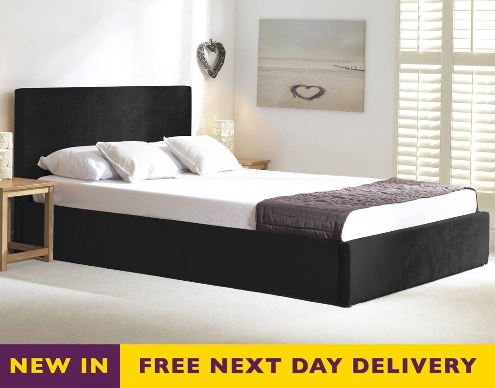 11466bcb3bf3 Sale Stirling 4ft6 Double Black Fabric Ottoman Storage Bed