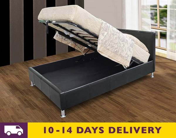 Cheapest Kenneth 4ft6 Double Black Faux Leather Storage
