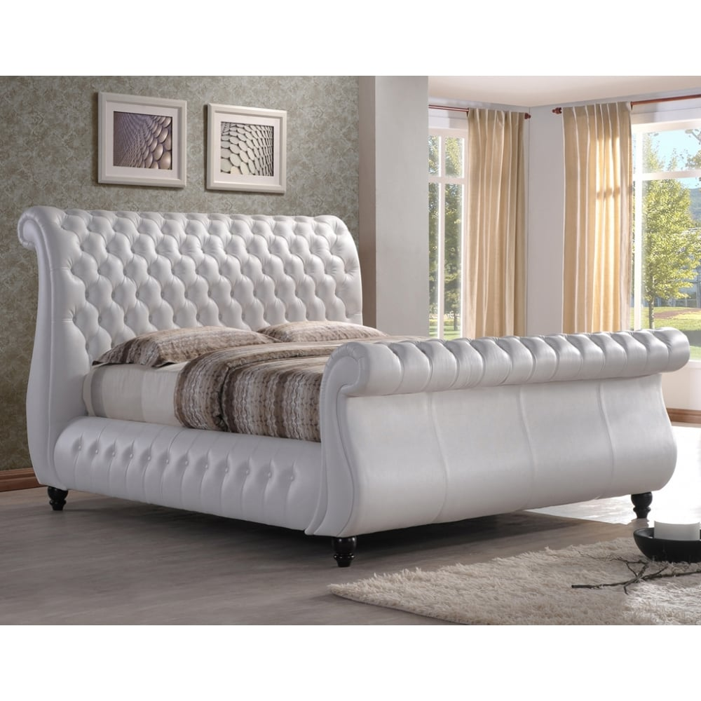 Swan 5ft king size white real leather bed  cheapest Swan king size bed genuine leather UK