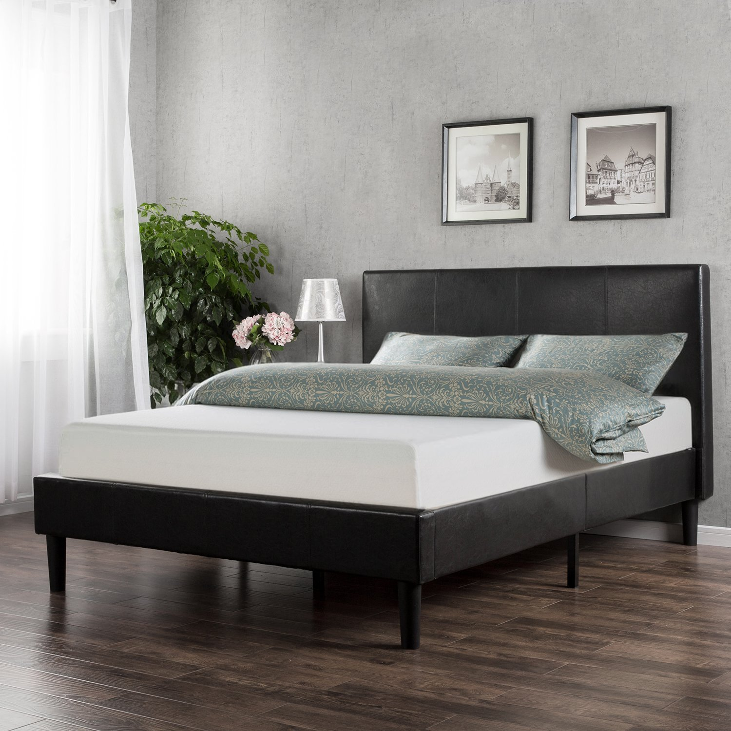 sleep master memory foam 10 inch mattress and faux leather platform bed set